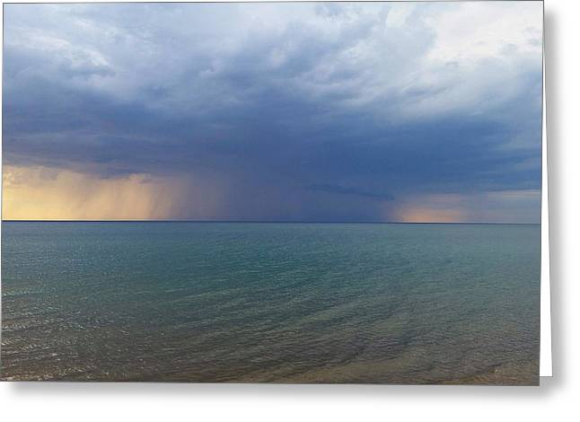 Raining Down Greeting Cards - Rain Storm over Lake Michigan Greeting Card by Jackie Novak