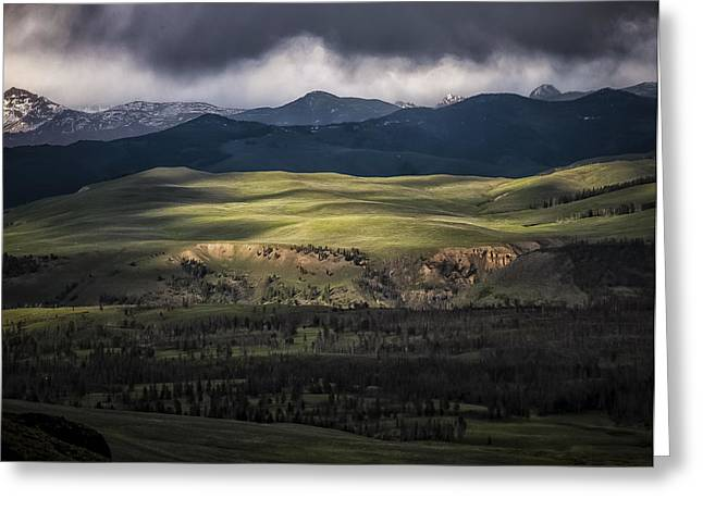 Dappled Light Greeting Cards - Rain Storm Over Yellowstone Greeting Card by Kirby Flanagan