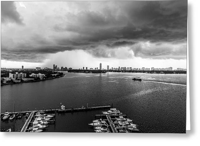 Dark Skies Pyrography Greeting Cards - Rain Storm Greeting Card by Satoshi Kina
