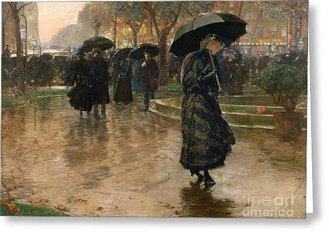 Reflections Paintings Greeting Cards - Rain Storm Union Square Greeting Card by Childe Hassam