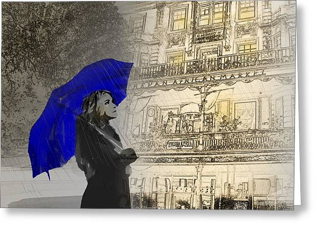 Intrigue Greeting Cards - Rain Walk Greeting Card by Andre Pillay