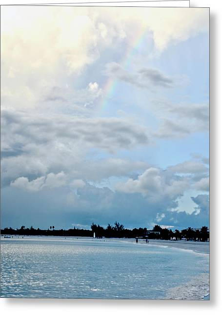 Dream Scape Greeting Cards - Rainbow at Grace Bay Beach Greeting Card by Amy McDaniel