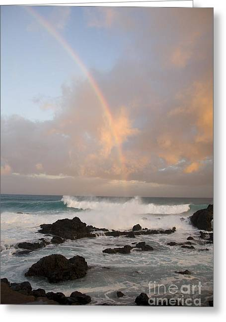 Offshore Rocks Greeting Cards - Rainbow at Hookipa Greeting Card by Ron Dahlquist - Printscapes