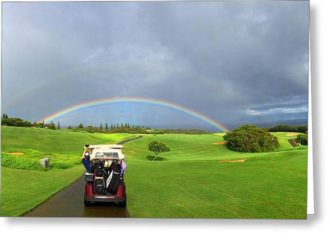 Beautiful Golf Course Greeting Cards - Rainbow at Kapalua Greeting Card by Stacia Blase