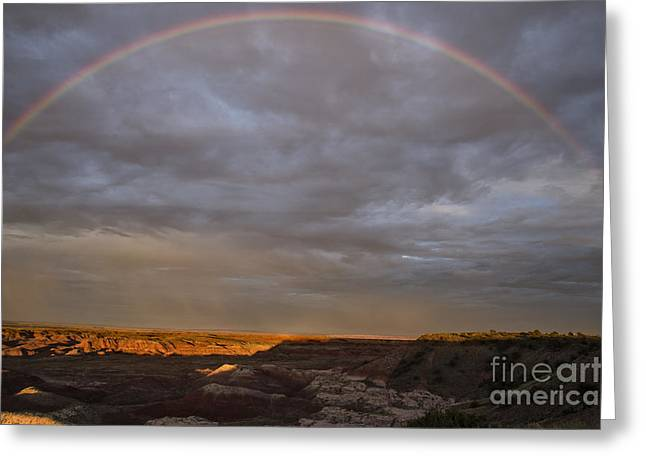 Petrified Forest National Park Greeting Cards - Rainbow At Sunset Greeting Card by Melany Sarafis