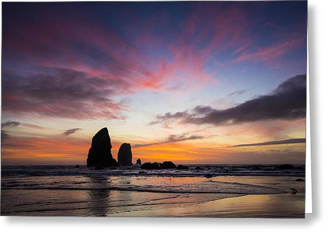 Cannon Beach Greeting Cards - Rainbow Beach Greeting Card by Peter Irwindale