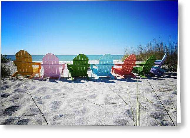 Chairs Greeting Cards - Rainbow Beach Vanilla Pop Greeting Card by Chris Andruskiewicz