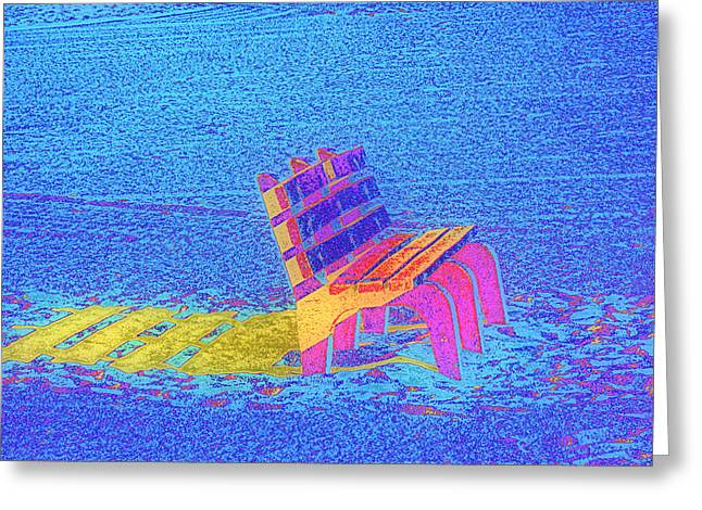 Abstract Digital Photographs Greeting Cards - Rainbow Bench Greeting Card by Rose  Hill