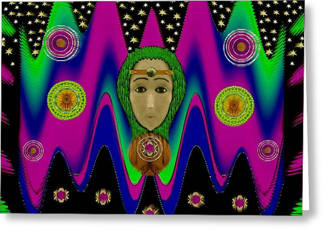 Rainbow Bohemian Peace Girl Greeting Card by Pepita Selles