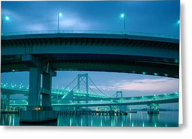 Curvature Greeting Cards - Rainbow Bridge And Daiba Line Tokyo Greeting Card by Panoramic Images
