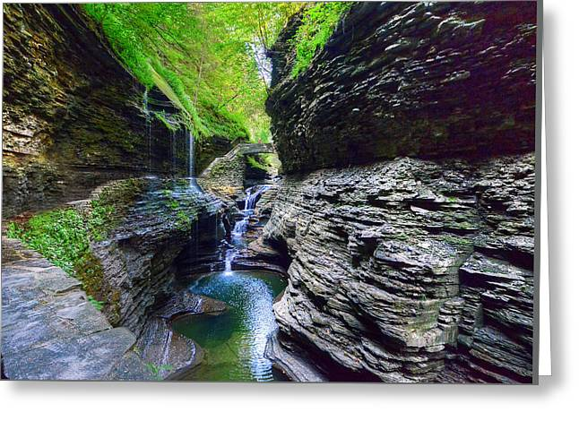 Finger Lakes Trail.rainbow Falls Greeting Cards - Rainbow Bridge And Falls Greeting Card by Rodney Campbell