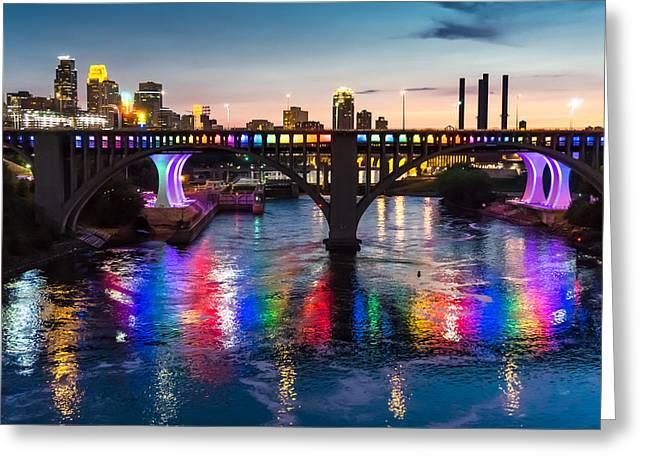 Rainbow Bridge In Minneapolis Greeting Card by Jim Hughes