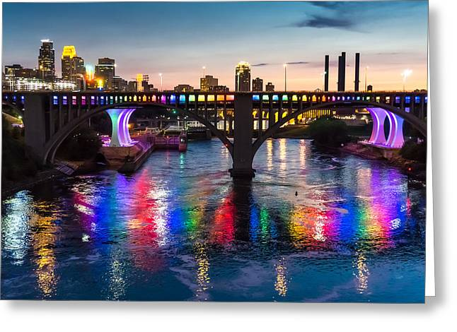 Spectrum Photographs Greeting Cards - Rainbow Bridge in Minneapolis Greeting Card by Jim Hughes