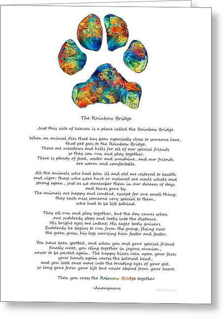 Dog Paw Print Greeting Cards - Rainbow Bridge Poem With Colorful Paw Print by Sharon Cummings Greeting Card by Sharon Cummings