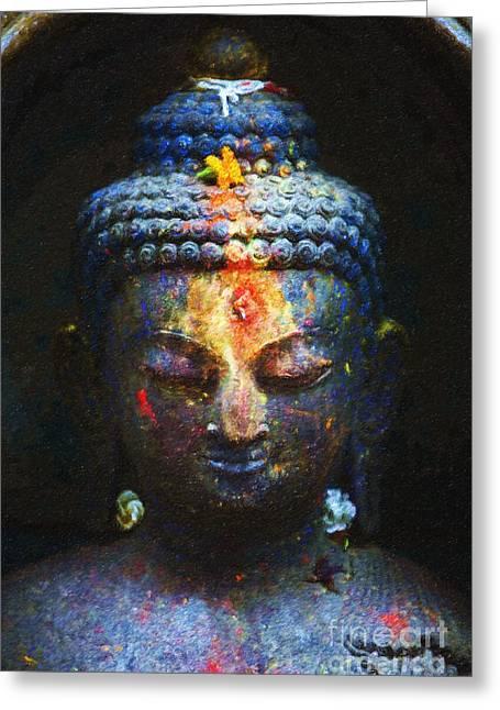 Rainbow Buddha Greeting Card by Tim Gainey
