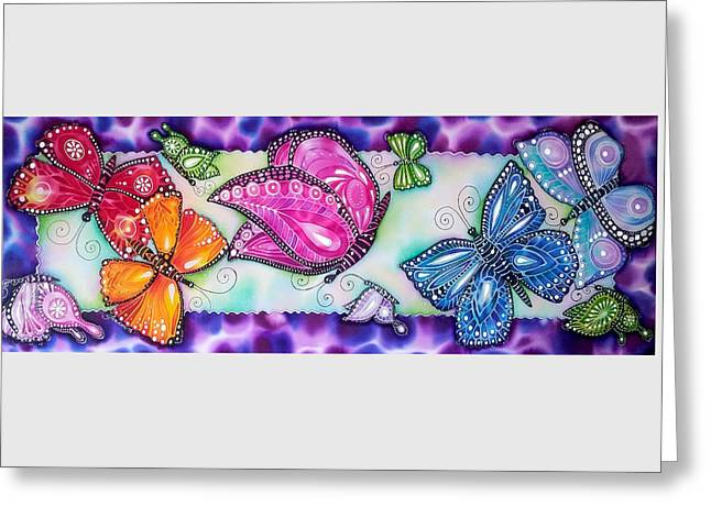 Butterfly Tapestries - Textiles Greeting Cards - Rainbow butterflies Greeting Card by Joanna Aleksandrova