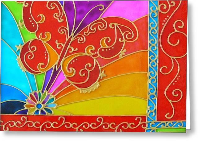 Swirl Glass Art Greeting Cards - Rainbow Butterfly Greeting Card by Danuta Duminica