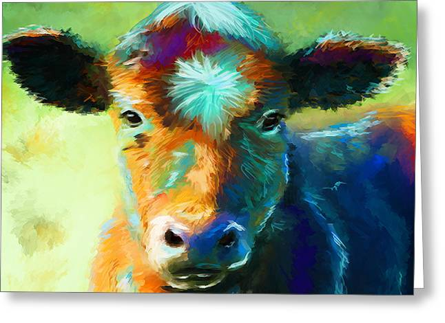 Cow Framed Prints Greeting Cards - Rainbow Calf Greeting Card by Michelle Wrighton