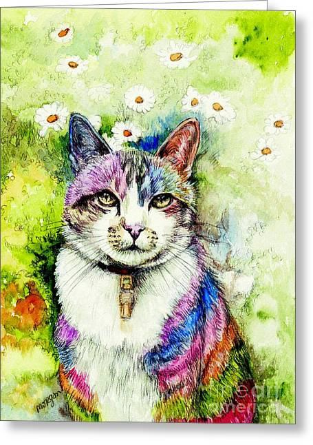 Rainbow Cat Greeting Card by Morgan Fitzsimons