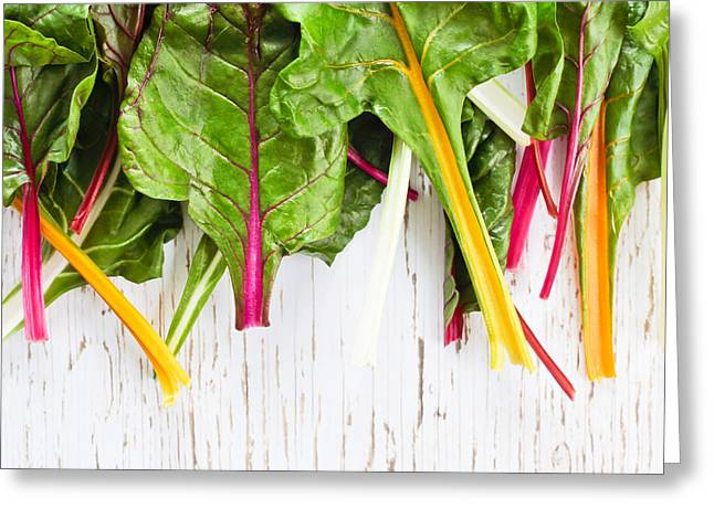 Swiss Photographs Greeting Cards - Rainbow chard Greeting Card by Tom Gowanlock