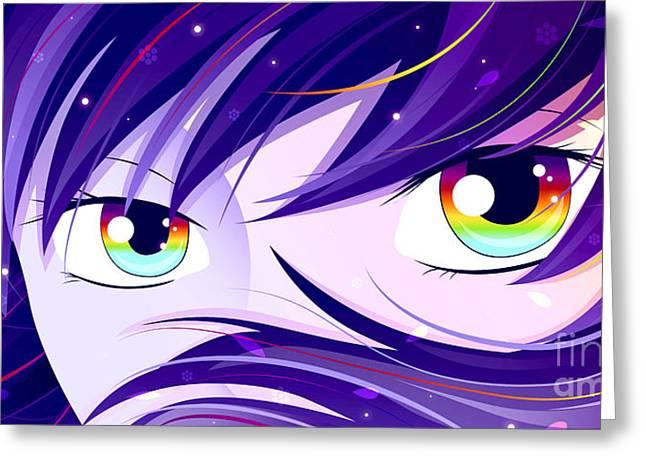 Rainbow Eyes Greeting Card by Sandra Hoefer