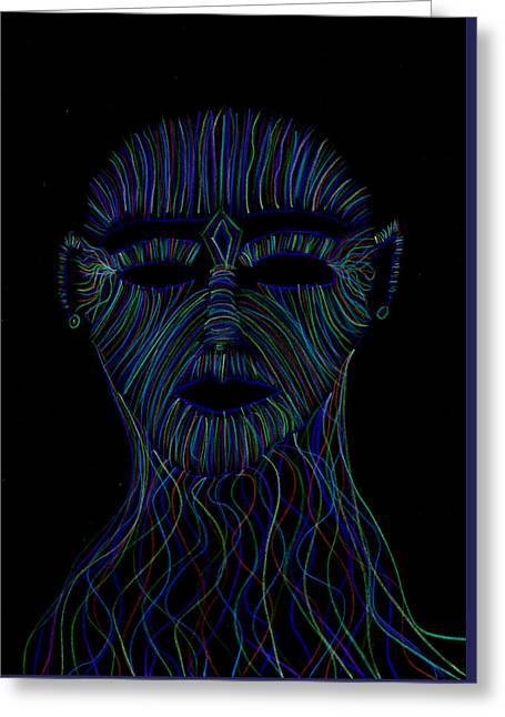 Chakra Rainbow Drawings Greeting Cards - Rainbow Face Invert Greeting Card by Luke Margetts