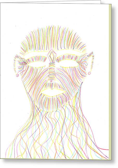 Chakra Rainbow Drawings Greeting Cards - Rainbow Face Greeting Card by Luke Margetts