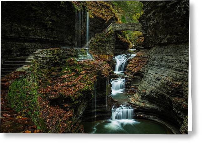 Waterfalls Pyrography Greeting Cards - Rainbow Falls Greeting Card by Rick Strobaugh