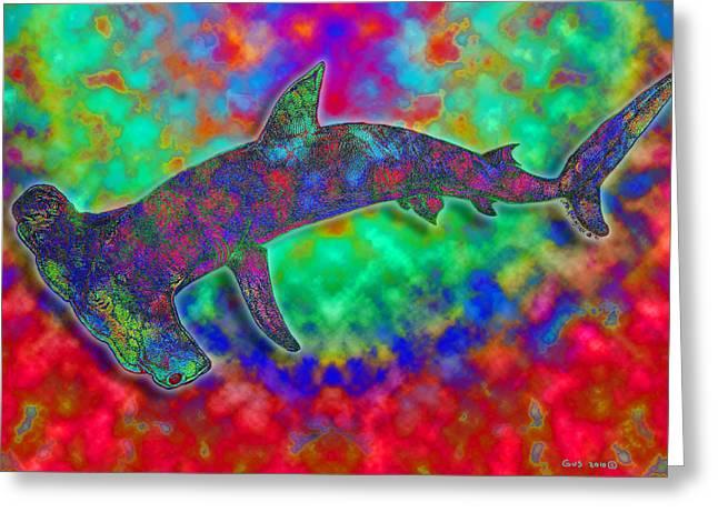 Hammerhead Sharks Greeting Cards - Rainbow Hammerhead Shark Greeting Card by Nick Gustafson