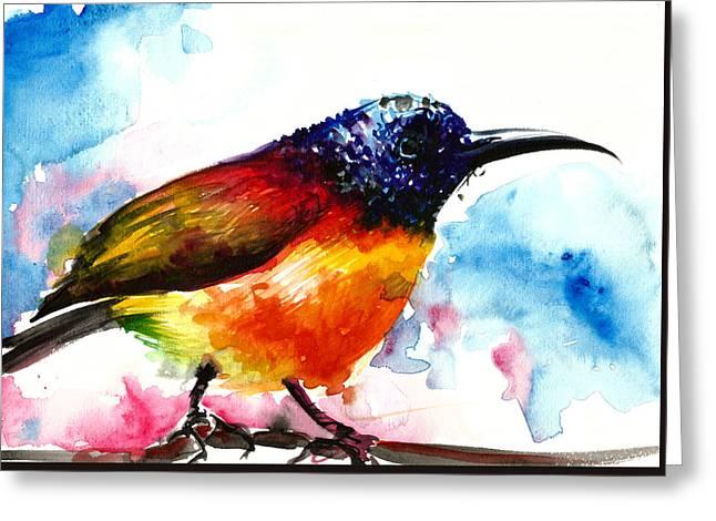 Rainbow Hummingbird Watercolor Greeting Card by Tiberiu Soos