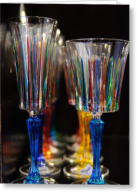 Champagne Glasses Greeting Cards - Rainbow In A Glass Greeting Card by David Jenniskens