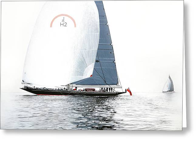 Rainbow Jh2 J-class Racing Yacht Greeting Card by Mark Woollacott