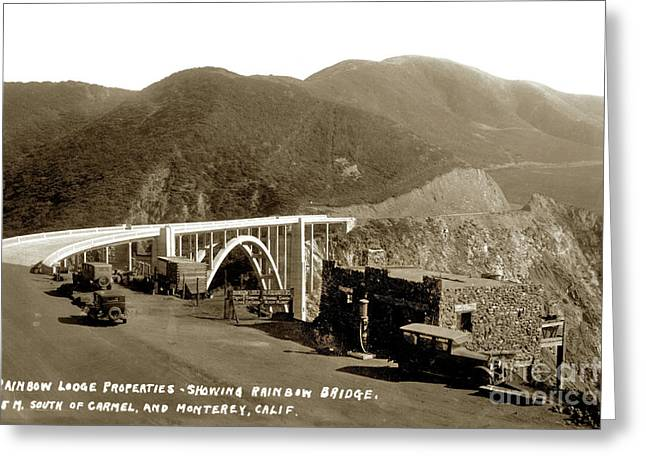 Rainbow Lodge Properties Showing Rainbow Bridge Aka Bixby Bridge 1933 Greeting Card by California Views Mr Pat Hathaway Archives