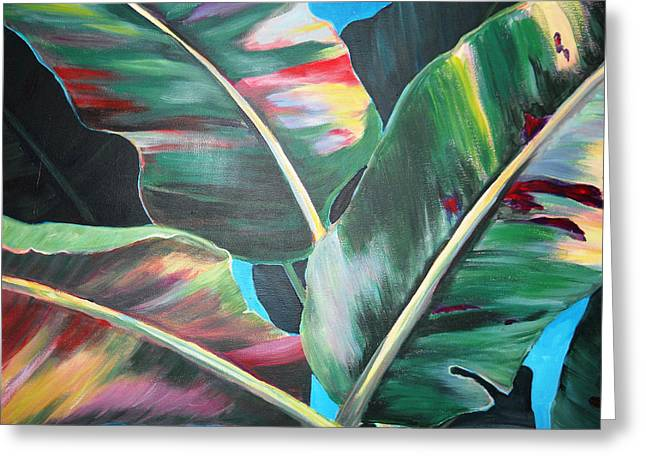 Banana Plants Greeting Cards - Rainbow Leaves Greeting Card by Nyiece Pregeant Owens