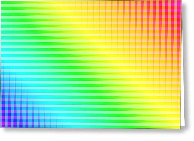 Cushion Greeting Cards - Rainbow Lines Greeting Card by Lena Kouneva