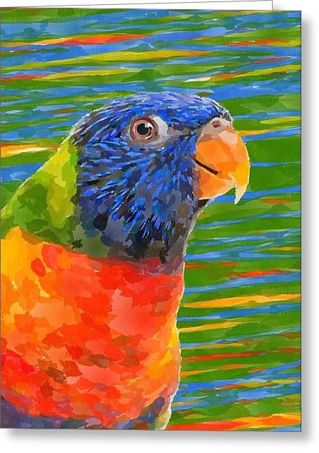 Rainbow Lorikeets Greeting Cards - Rainbow Lorikeet 3 Greeting Card by Chris Butler