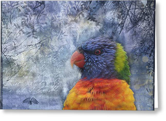 Rainbow Lorikeets Greeting Cards - Rainbow Lorikeet and Egrets Greeting Card by Lesley Smitheringale