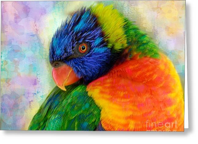 Rainbow Lorikeets Greeting Cards - Rainbow Lorikeet Greeting Card by Betty LaRue