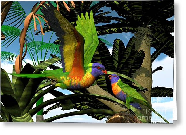 Rainbow Lorikeet Parrots Greeting Card by Corey Ford