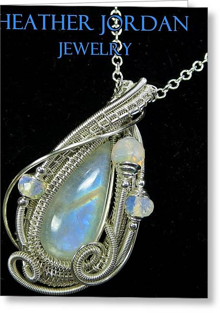 Wrap Jewelry Greeting Cards - Rainbow Moonstone and Sterling Silver Wire-Wrapped Pendant with Ethiopian Welo Opals MNSTPSS7 Greeting Card by Heather Jordan