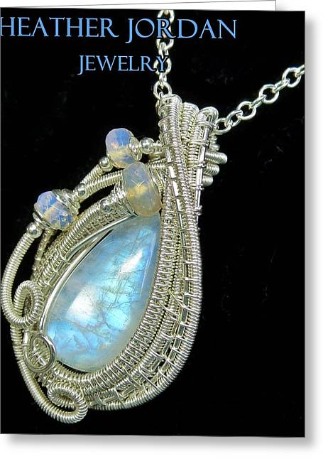 Wrap Jewelry Greeting Cards - Rainbow Moonstone and Sterling Silver Wire-Wrapped Pendant with Ethiopian Welo Opals MNSTPSS8 Greeting Card by Heather Jordan