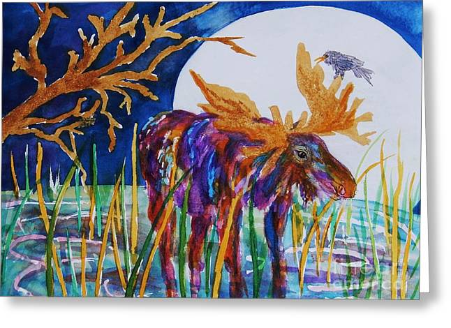 Splashy Paintings Greeting Cards - Rainbow Moose Night Grazing Greeting Card by Ellen Levinson
