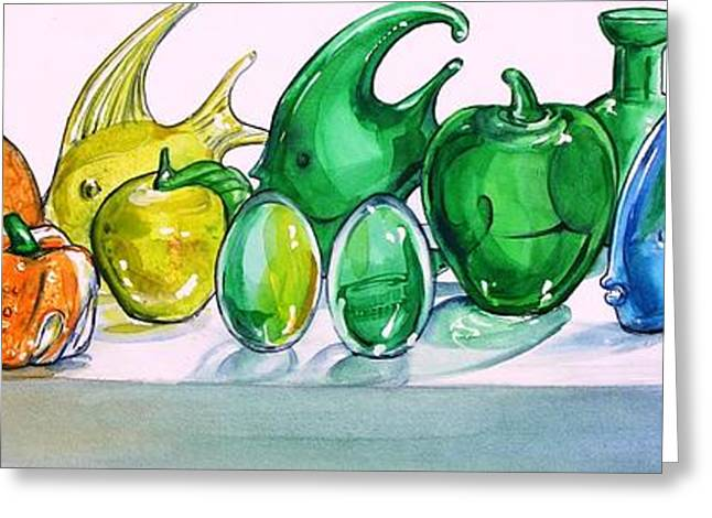 Glass Vase Greeting Cards - Rainbow of Glass Greeting Card by Jane Loveall