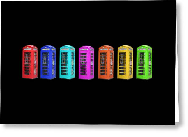 Rainbow Of London Phone Booths Tee Greeting Card by Edward Fielding