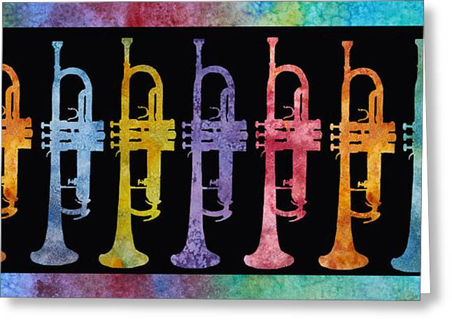 Brass Greeting Cards - Rainbow of Trumpets Greeting Card by Jenny Armitage