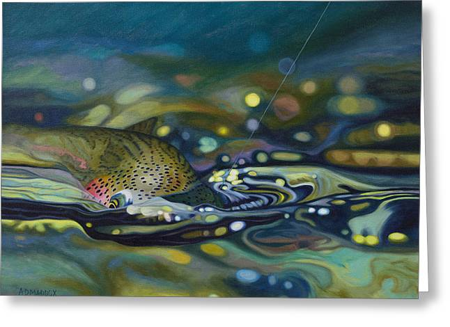 Recently Sold -  - Rainbow Trout Greeting Cards - Rainbow On Greeting Card by AD Maddox