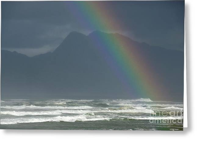 Tranquil Scene Escapism Greeting Cards - Rainbow on Ocean Greeting Card by Sami Sarkis