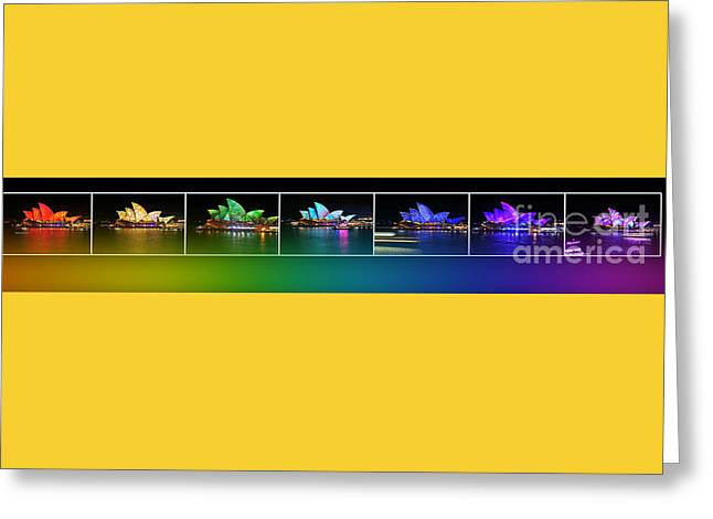 Spectrum Greeting Cards - Rainbow Opera - Vivid Sydney by Kaye Menner Greeting Card by Kaye Menner
