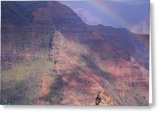 Waimea Falls Greeting Cards - Rainbow Over A Canyon, Waimea Canyon Greeting Card by Panoramic Images