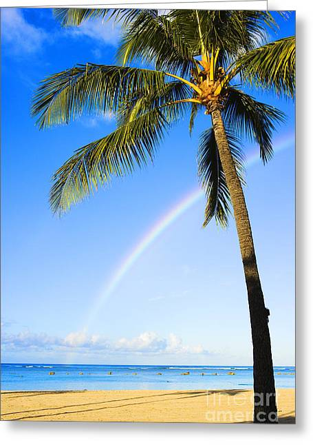 Ala Moana Greeting Cards - Rainbow Over Ala Moana Greeting Card by Dana Edmunds - Printscapes